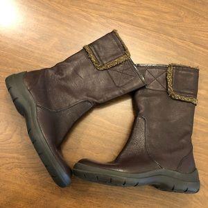 Nine West leather upper fleece trim mid calf boot